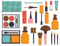Makeup ikon pachnidła tusz do rzęs opieki muśnięć grępla stawiał czoło eyeshadow splendoru żeńskiego akcesoryjnego wektor ilustracji