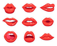 Makeup illustrations in cartoon style. Beautiful smiling sexy female lips. Makeup sexy, smile girl kiss lips vector Stock Photography