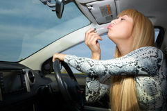 Makeup In Car Royalty Free Stock Images