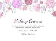 Makeup jagar banermallen med stället för din text, designbeståndsdelen för reklambladet, gåvakortet, kupongen, broschyrvektor vektor illustrationer