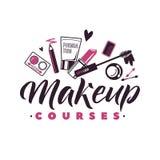 Makeup jagar vektorlogo Illustration av skönhetsmedel Härlig bokstäverillustration royaltyfri illustrationer