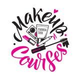 Makeup jagar vektorlogo Illustration av skönhetsmedel Rund bokstäverillustration royaltyfri illustrationer