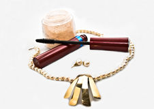 Makeup and Jewelry royalty free stock photography