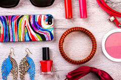 Makeup kit and accessories. Royalty Free Stock Photo