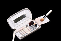 Makeup kit with brushes Royalty Free Stock Photography