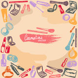 Makeup kit freehand drawing, vector background Royalty Free Stock Photo