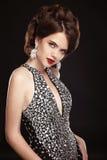 makeup klejnoty fryzury pani mody Piękny elegancki woma zdjęcia stock