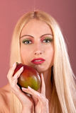 Makeup like mango on woman face Royalty Free Stock Photo