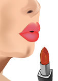 Makeup with lipstick on her lips Royalty Free Stock Photography