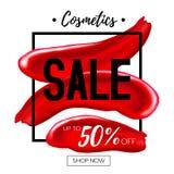 Makeup lipstick smear cosmetics sale concept. Stock Photography