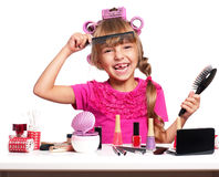 Makeup little girl Stock Photo