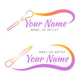 Makeup logo with brush and curved line. Royalty Free Stock Photo