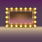 Makeup lustro z lampami Zdjęcia Royalty Free