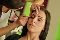 Makeup. Make-up. Eyeshadows. Eye shadow brush Royalty Free Stock Images