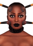 Face Make up. Beautiful Young African American Woman Make up royalty free stock images