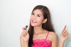 Makeup. Make-up Face. Big Make up brush. Makeup applying concept Stock Image