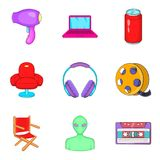 Makeup man icons set, cartoon style. Makeup man icons set. Cartoon set of 9 makeup man vector icons for web isolated on white background Royalty Free Stock Photography