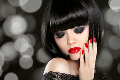 Makeup. Manicured nails. Beauty girl portrait. Back short bob ha Royalty Free Stock Photography