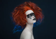 Makeup mask red hair girl Royalty Free Stock Images