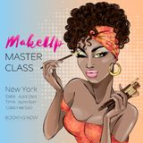 Makeup master class banner with beautiful brown skin tone woman, modern pin up style. Pop-art beauty brown lady with curly hair ap Royalty Free Stock Images