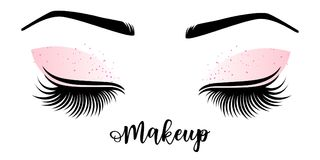 Makeup master logo. Vector illustration of lashes and brow. For beauty salon, lash extensions maker, brow master Stock Image