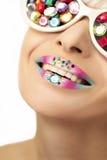 Makeup med rhinestones fotografering för bildbyråer