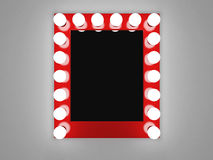 Makeup mirror. 3d illustration of mirror with bulbs for makeup Stock Photography
