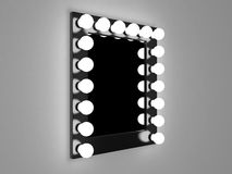 Makeup mirror. 3d illustration of mirror with bulbs for makeup stock illustration