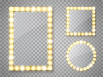 Makeup mirror isolated with lights. Vector square and round frames. Makeup mirror isolated with gold lights. Vector square and round frames illustration vector illustration