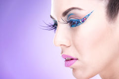 Makeup  Model with extreme makeup Stock Images