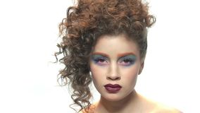 Makeup model isolated. stock video