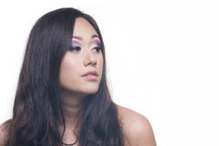 Makeup of a model with long black hair Stock Photo
