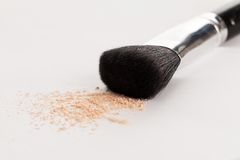 Makeup natural brush with beige powder Royalty Free Stock Images