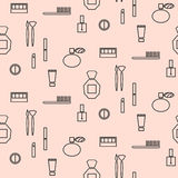 Makeup objects and products seamless pattern. stock illustration