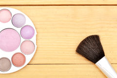 Makeup objects on wood Royalty Free Stock Photos