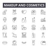 Makeup och skönhetsmedelbegreppslinje symboler, tecken, vektoruppsättning, linjärt begrepp, översiktsillustration stock illustrationer