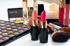 Makeup och skönhetsmedeluppsättning Royaltyfri Fotografi