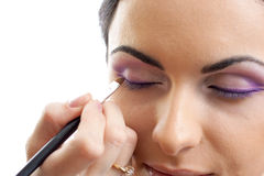 Makeup outline the eyes routine Royalty Free Stock Photography