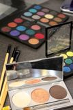 Makeup palate. Makeup brushes and palettes stock photo