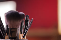 Makeup palette and brushes Stock Image