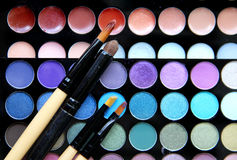 Makeup palette and brushes Royalty Free Stock Photos