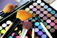 Makeup palette and brushes Royalty Free Stock Image
