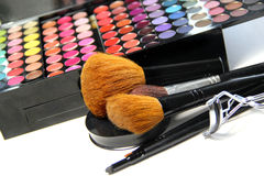 Makeup palette and brushes Stock Photography
