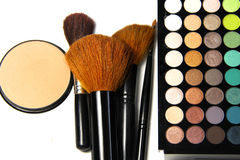 Makeup palette and brushes Stock Photo