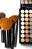 Makeup palette and brushes Stock Photos