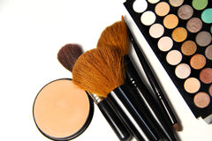 Makeup palette and brushes Royalty Free Stock Images
