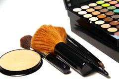 Makeup palette and brushes Royalty Free Stock Photo