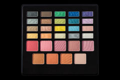 Makeup palette of colorful eyeshadows isolated on black backgrou Royalty Free Stock Photos