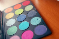 Makeup palette colors brush cosmetics Royalty Free Stock Image