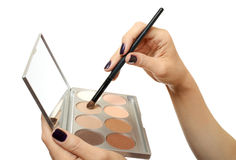 Makeup palette in hand on white Stock Photos